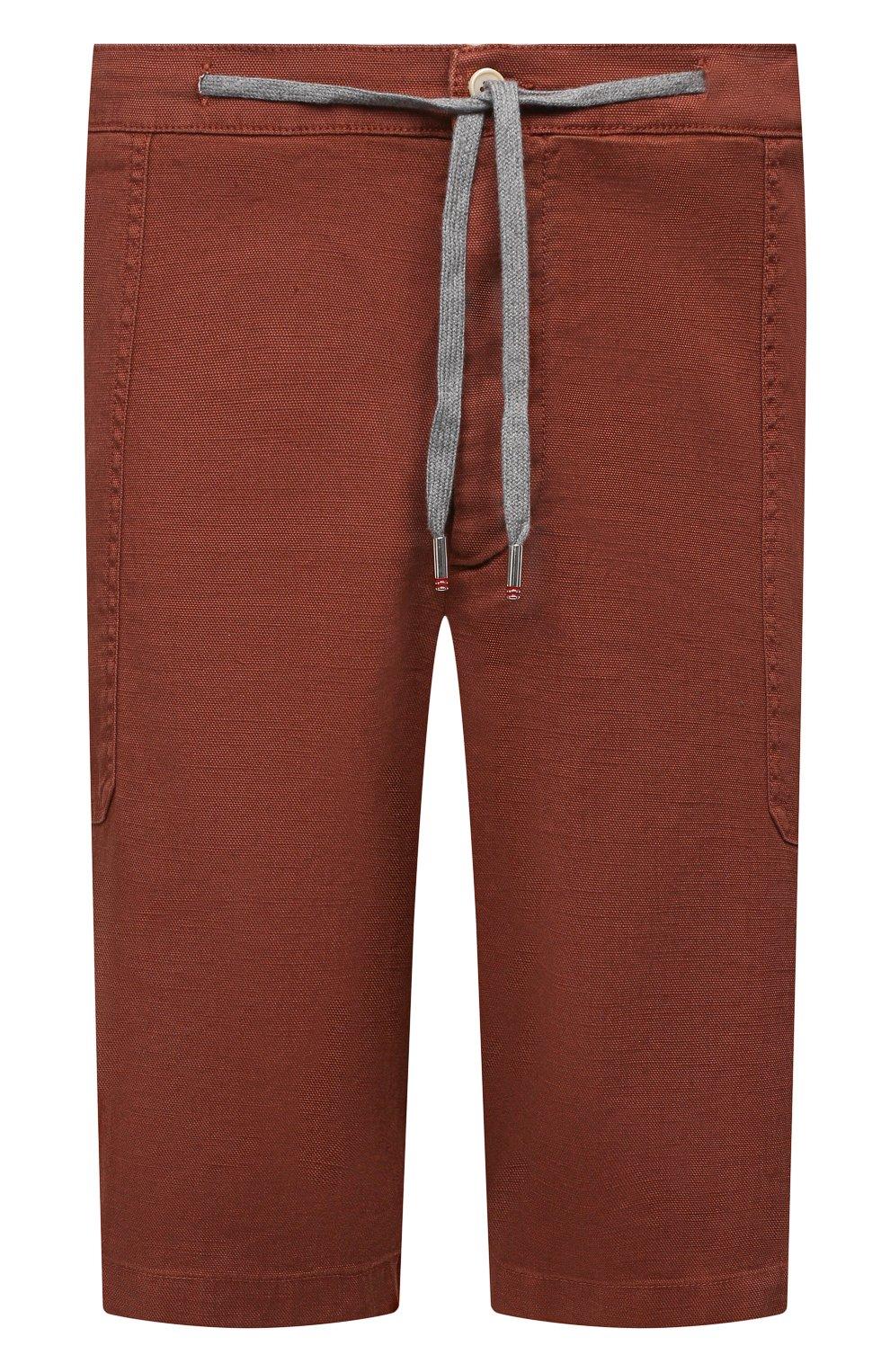 Мужские шорты изо льна и хлопка MARCO PESCAROLO коричневого цвета, арт. PIEDIGR0TT/4307   Фото 1 (Big sizes: Big Sizes; Мужское Кросс-КТ: Шорты-одежда; Принт: Без принта; Длина Шорты М: Ниже колена; Материал внешний: Хлопок, Лен; Стили: Кэжуэл)