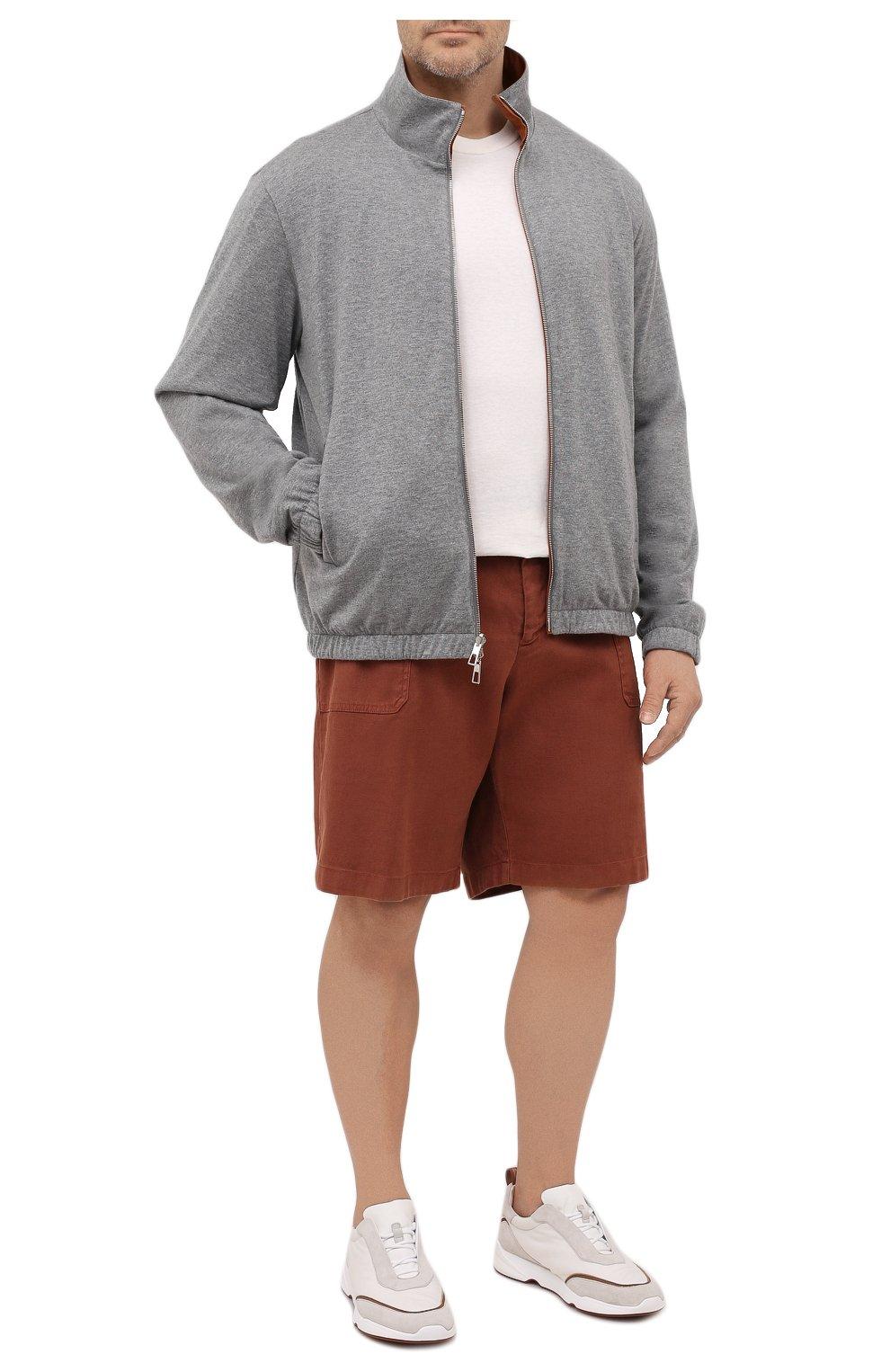 Мужские шорты изо льна и хлопка MARCO PESCAROLO коричневого цвета, арт. PIEDIGR0TT/4307   Фото 2 (Big sizes: Big Sizes; Мужское Кросс-КТ: Шорты-одежда; Принт: Без принта; Длина Шорты М: Ниже колена; Материал внешний: Хлопок, Лен; Стили: Кэжуэл)