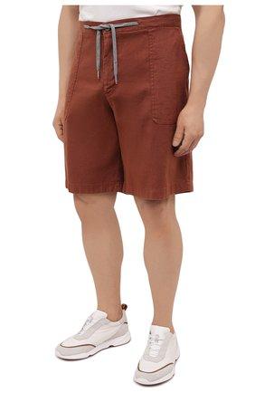 Мужские шорты изо льна и хлопка MARCO PESCAROLO коричневого цвета, арт. PIEDIGR0TT/4307   Фото 3 (Big sizes: Big Sizes; Мужское Кросс-КТ: Шорты-одежда; Принт: Без принта; Длина Шорты М: Ниже колена; Материал внешний: Хлопок, Лен; Стили: Кэжуэл)