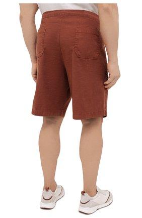 Мужские шорты изо льна и хлопка MARCO PESCAROLO коричневого цвета, арт. PIEDIGR0TT/4307   Фото 4 (Big sizes: Big Sizes; Мужское Кросс-КТ: Шорты-одежда; Принт: Без принта; Длина Шорты М: Ниже колена; Материал внешний: Хлопок, Лен; Стили: Кэжуэл)