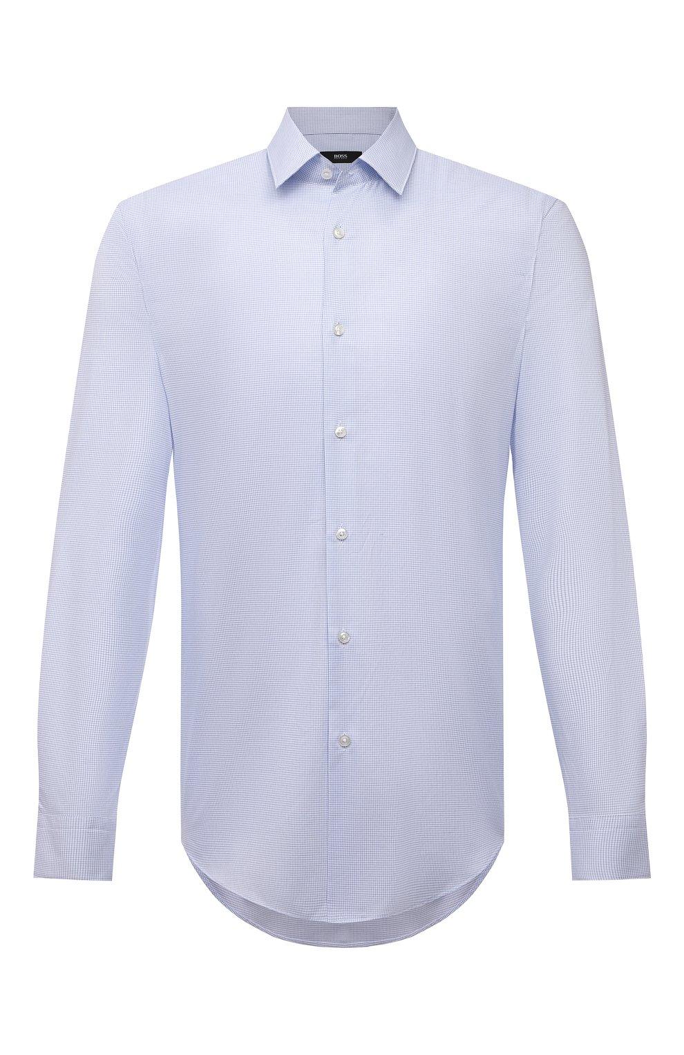 Мужская хлопковая сорочка BOSS голубого цвета, арт. 50452199 | Фото 1