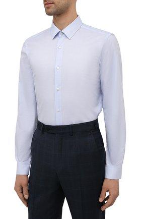 Мужская хлопковая сорочка BOSS голубого цвета, арт. 50452199 | Фото 3