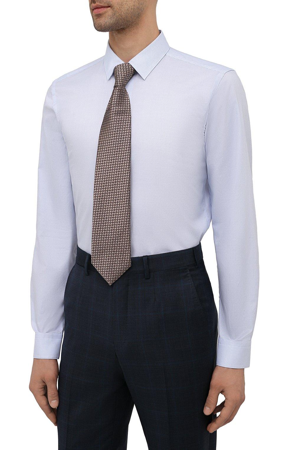 Мужская хлопковая сорочка BOSS голубого цвета, арт. 50452199 | Фото 4
