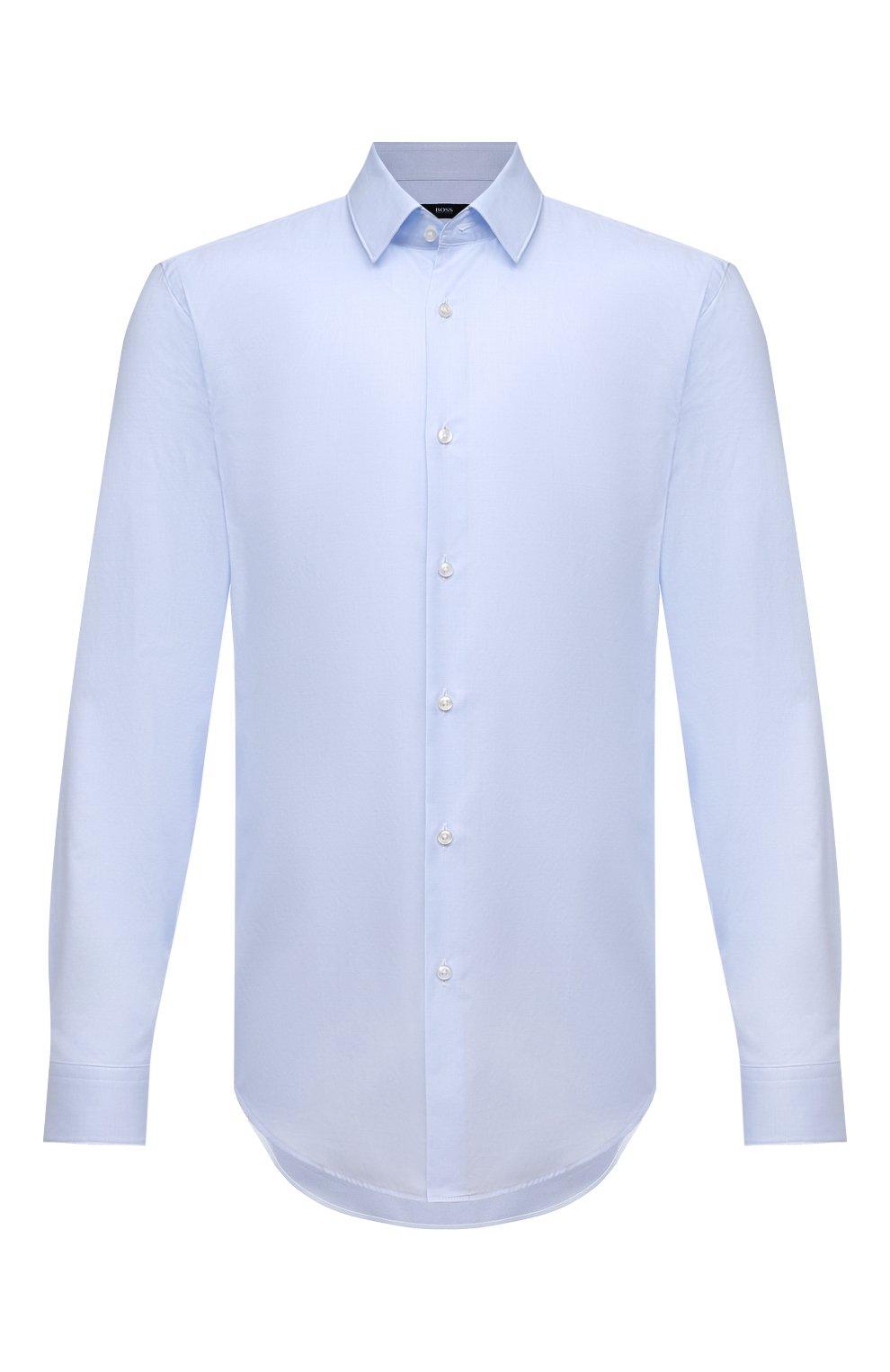 Мужская хлопковая сорочка BOSS голубого цвета, арт. 50452198   Фото 1