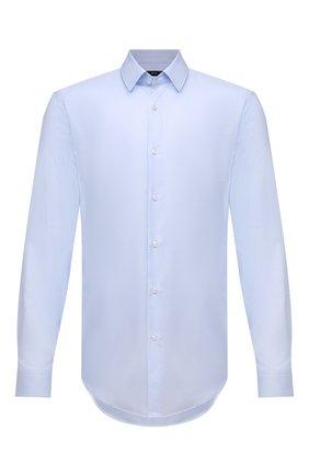 Мужская хлопковая сорочка BOSS голубого цвета, арт. 50452198 | Фото 1