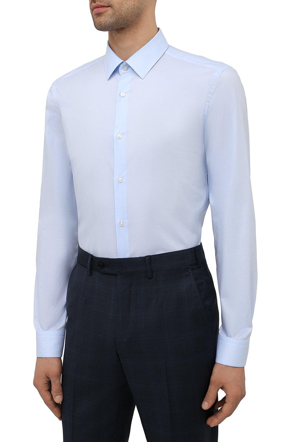Мужская хлопковая сорочка BOSS голубого цвета, арт. 50452198   Фото 3