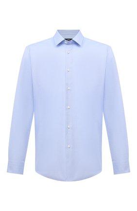 Мужская хлопковая сорочка BOSS голубого цвета, арт. 50451317 | Фото 1
