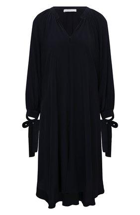 Женское платье из шелка и вискозы BOSS темно-синего цвета, арт. 50448062 | Фото 1