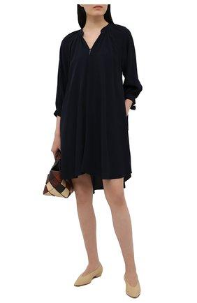 Женское платье из шелка и вискозы BOSS темно-синего цвета, арт. 50448062 | Фото 2