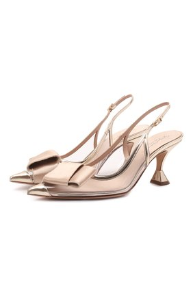 Женские туфли GIORGIO ARMANI золотого цвета, арт. X1E888/XM856 | Фото 1 (Материал внешний: Экокожа; Каблук высота: Средний; Материал внутренний: Натуральная кожа, Текстиль; Каблук тип: Устойчивый; Подошва: Плоская)