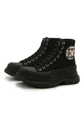 Женские текстильные ботинки tread slick ALEXANDER MCQUEEN черного цвета, арт. 652280/W4L3K | Фото 1 (Подошва: Платформа; Материал внешний: Текстиль; Материал внутренний: Натуральная кожа; Каблук высота: Низкий; Женское Кросс-КТ: Хайкеры-ботинки)