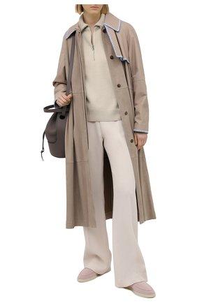 Женские текстильные ботинки open walk LORO PIANA светло-розового цвета, арт. FAL6201 | Фото 2 (Материал внешний: Текстиль; Материал внутренний: Текстиль, Натуральная кожа; Каблук высота: Низкий; Подошва: Плоская; Женское Кросс-КТ: Дезерты-ботинки)