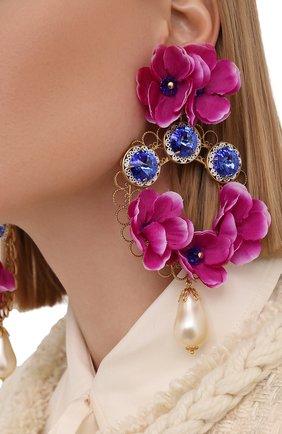 Женские клипсы DOLCE & GABBANA розового цвета, арт. WEN4F5/W1111   Фото 2