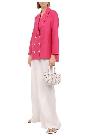 Женский жакет из хлопка и льна KITON розового цвета, арт. D49539H07724   Фото 2