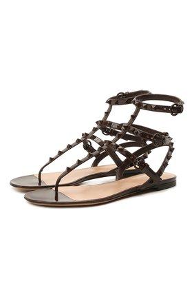 Женские кожаные сандалии rockstud VALENTINO темно-коричневого цвета, арт. VW0S0812/YPX | Фото 1 (Подошва: Плоская; Материал внутренний: Натуральная кожа; Каблук высота: Низкий)