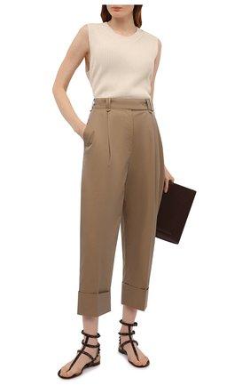 Женские кожаные сандалии rockstud VALENTINO темно-коричневого цвета, арт. VW0S0812/YPX | Фото 2 (Подошва: Плоская; Материал внутренний: Натуральная кожа; Каблук высота: Низкий)