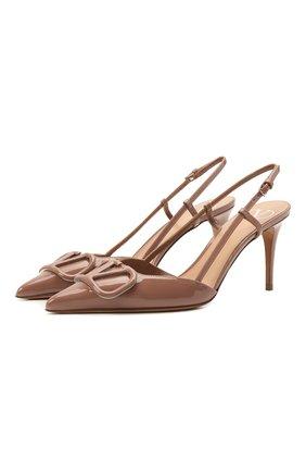 Женские кожаные туфли vlogo signature VALENTINO темно-бежевого цвета, арт. VW0S0R01/TMK   Фото 1
