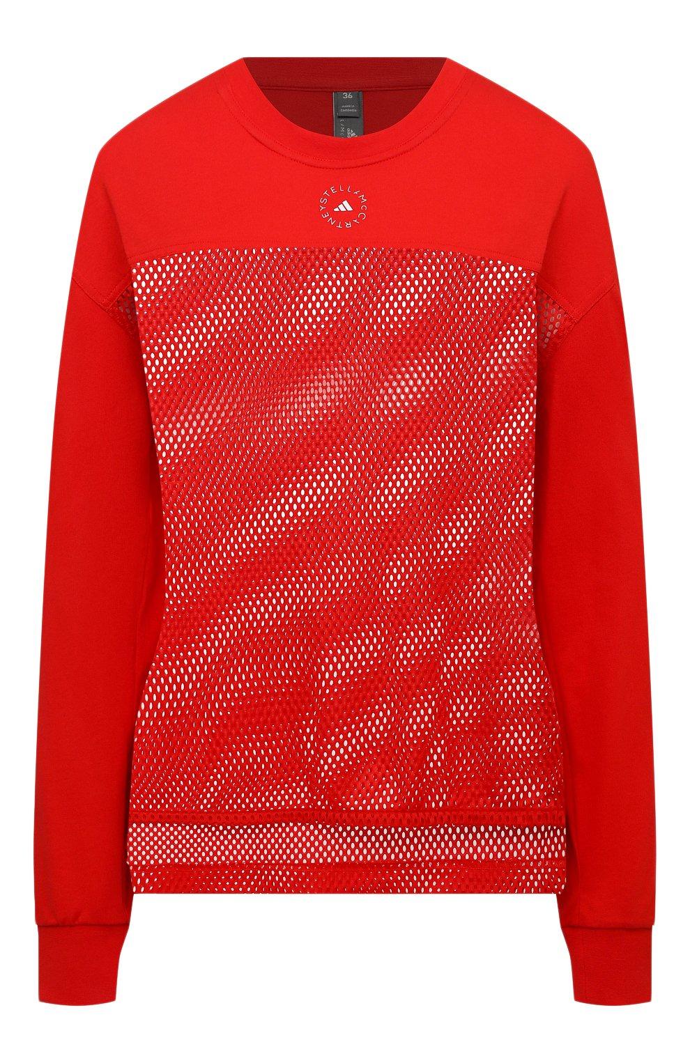 Женская хлопковый лонгслив ADIDAS BY STELLA MCCARTNEY красного цвета, арт. GM5393 | Фото 1 (Женское Кросс-КТ: Лонгслив-спорт, Лонгслив-одежда; Рукава: Длинные; Принт: Без принта; Длина (для топов): Стандартные; Материал внешний: Хлопок; Стили: Спорт-шик)