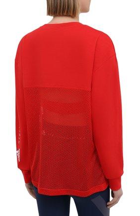 Женская хлопковый лонгслив ADIDAS BY STELLA MCCARTNEY красного цвета, арт. GM5393 | Фото 4 (Женское Кросс-КТ: Лонгслив-спорт, Лонгслив-одежда; Рукава: Длинные; Принт: Без принта; Длина (для топов): Стандартные; Материал внешний: Хлопок; Стили: Спорт-шик)