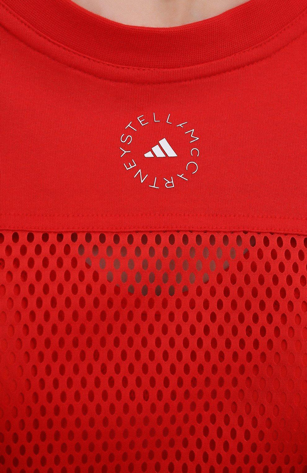 Женская хлопковый лонгслив ADIDAS BY STELLA MCCARTNEY красного цвета, арт. GM5393 | Фото 5 (Женское Кросс-КТ: Лонгслив-спорт, Лонгслив-одежда; Рукава: Длинные; Принт: Без принта; Длина (для топов): Стандартные; Материал внешний: Хлопок; Стили: Спорт-шик)