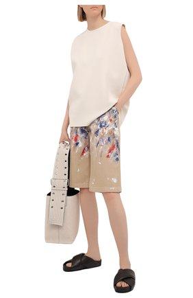 Женские джинсовые шорты PHILOSOPHY DI LORENZO SERAFINI разноцветного цвета, арт. A0319/2133 | Фото 2 (Кросс-КТ: Деним; Стили: Спорт-шик; Женское Кросс-КТ: Шорты-одежда; Материал внешний: Хлопок; Длина Ж (юбки, платья, шорты): Миди)