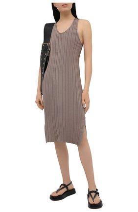 Женское платье из вискозы ACNE STUDIOS светло-коричневого цвета, арт. A20269 | Фото 2