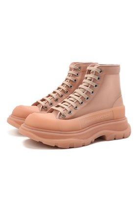 Женские текстильные ботинки tread slick ALEXANDER MCQUEEN светло-розового цвета, арт. 658082/W4Q31 | Фото 1 (Материал внешний: Текстиль; Материал внутренний: Натуральная кожа; Подошва: Платформа; Каблук высота: Низкий; Женское Кросс-КТ: Хайкеры-ботинки)