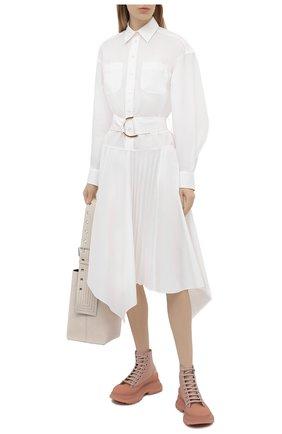 Женские текстильные ботинки tread slick ALEXANDER MCQUEEN светло-розового цвета, арт. 658082/W4Q31 | Фото 2 (Материал внешний: Текстиль; Материал внутренний: Натуральная кожа; Подошва: Платформа; Каблук высота: Низкий; Женское Кросс-КТ: Хайкеры-ботинки)