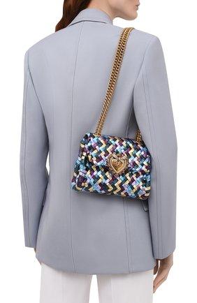 Женская сумка devotion mini DOLCE & GABBANA разноцветного цвета, арт. BB6877/A0325   Фото 2 (Сумки-технические: Сумки через плечо; Материал: Натуральная кожа; Ремень/цепочка: С цепочкой, На ремешке; Женское Кросс-КТ: Вечерняя сумка; Размер: mini)