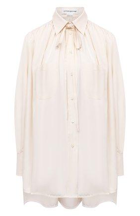 Женская шелковая блузка VICTORIA BECKHAM светло-бежевого цвета, арт. 1221WSH002493A | Фото 1