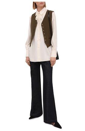 Женская шелковая блузка VICTORIA BECKHAM светло-бежевого цвета, арт. 1221WSH002493A | Фото 2