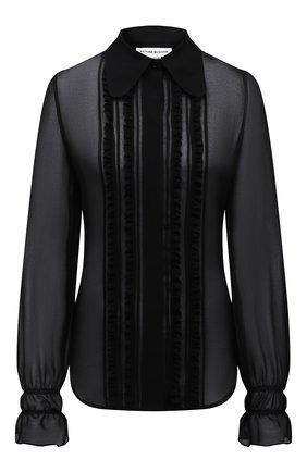 Женская блузка VICTORIA BECKHAM черного цвета, арт. 1221WSH002524C | Фото 1 (Длина (для топов): Стандартные; Стили: Романтичный; Рукава: Длинные; Женское Кросс-КТ: Блуза-одежда; Материал внешний: Синтетический материал; Принт: Без принта)