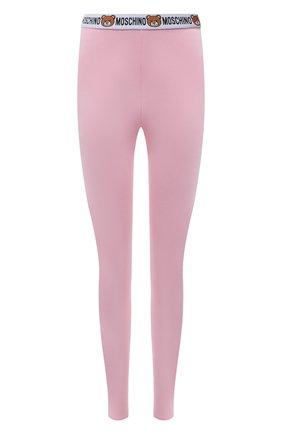 Женские хлопковые леггинсы MOSCHINO UNDERWEAR WOMAN розового цвета, арт. A4311/9003 | Фото 1