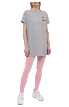 Женские хлопковые леггинсы MOSCHINO UNDERWEAR WOMAN розового цвета, арт. A4311/9003 | Фото 2