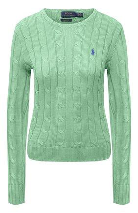Женский хлопковый пуловер POLO RALPH LAUREN зеленого цвета, арт. 211580009 | Фото 1