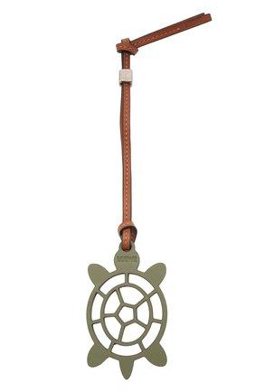 Женский брелок turtle loewe x paula's ibiza LOEWE зеленого цвета, арт. C621232X59   Фото 1 (Материал: Кожа)