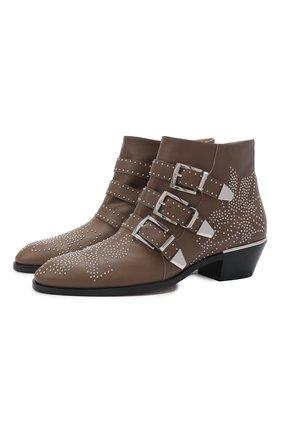Женские кожаные ботинки susanna CHLOÉ коричневого цвета, арт. CHC16A13475 | Фото 1