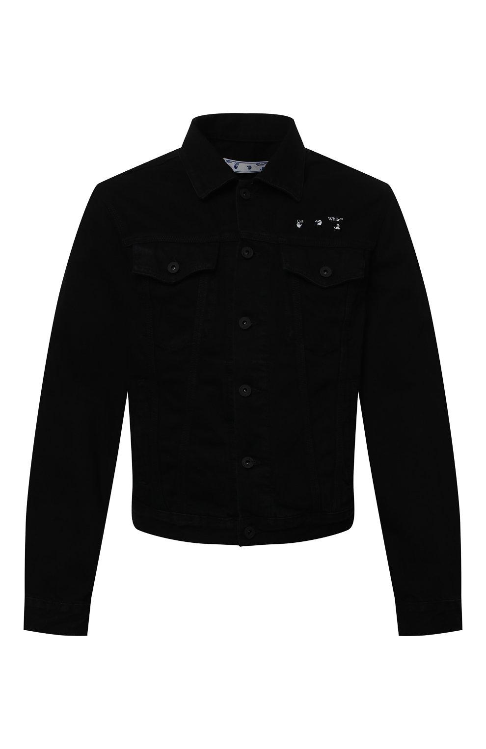 Мужская джинсовая куртка OFF-WHITE черного цвета, арт. 0MYE054S21DEN001   Фото 1 (Кросс-КТ: Куртка, Деним; Рукава: Длинные; Материал внешний: Хлопок; Стили: Спорт-шик; Длина (верхняя одежда): Короткие)