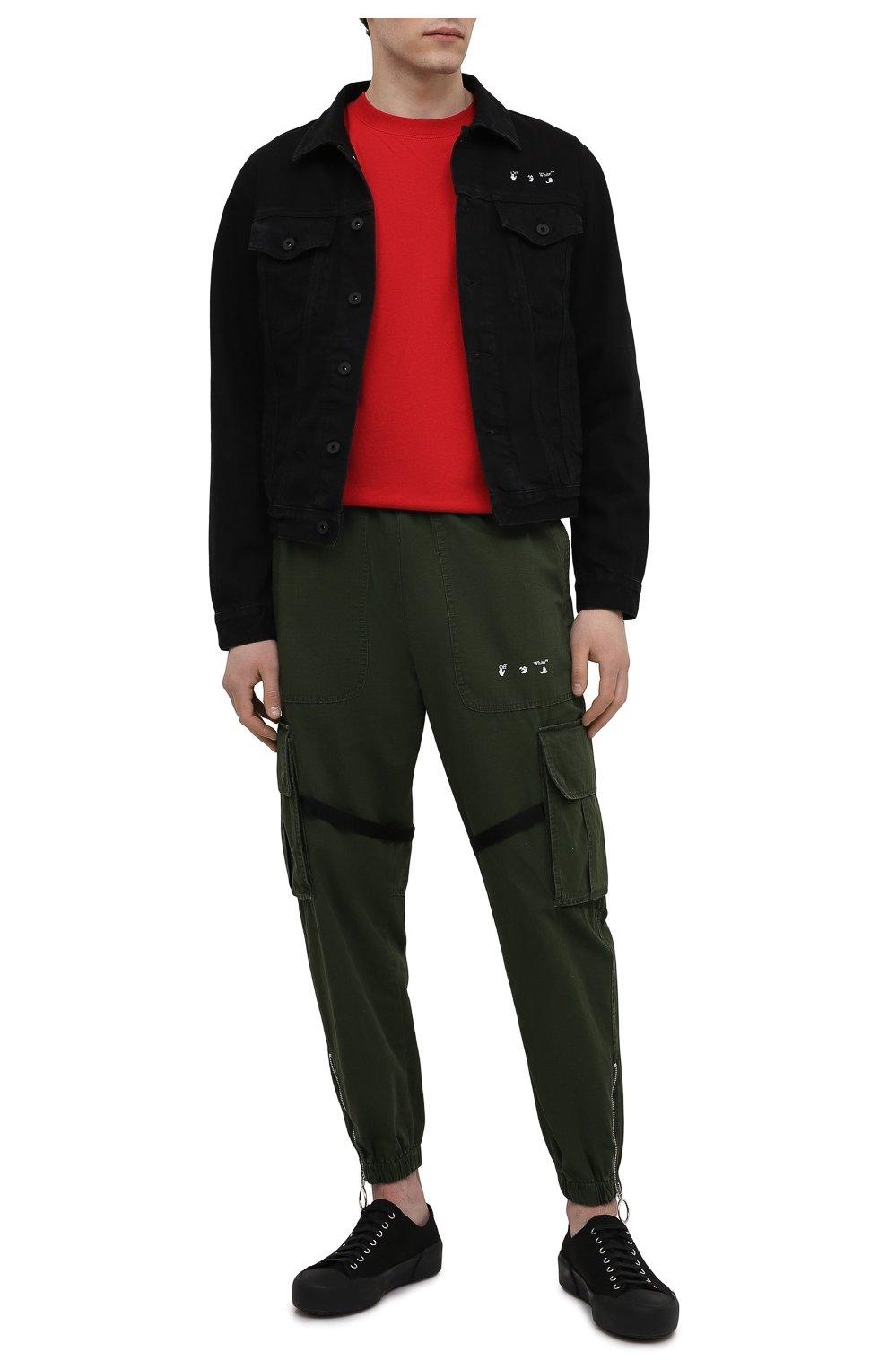 Мужская джинсовая куртка OFF-WHITE черного цвета, арт. 0MYE054S21DEN001   Фото 2 (Кросс-КТ: Куртка, Деним; Рукава: Длинные; Материал внешний: Хлопок; Стили: Спорт-шик; Длина (верхняя одежда): Короткие)