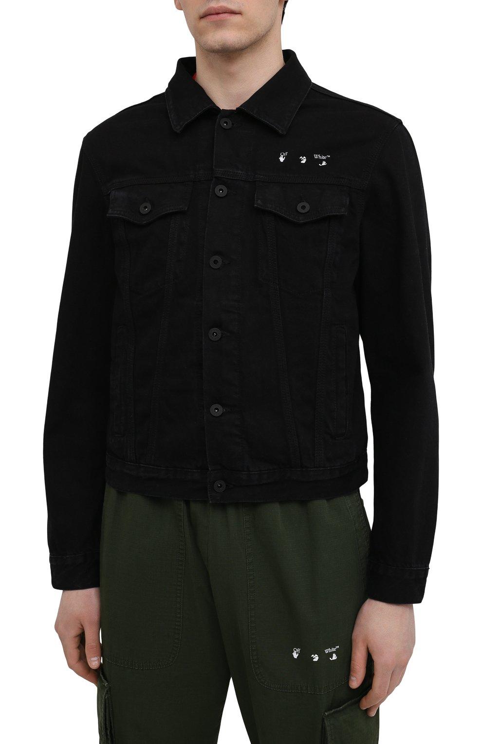 Мужская джинсовая куртка OFF-WHITE черного цвета, арт. 0MYE054S21DEN001   Фото 3 (Кросс-КТ: Куртка, Деним; Рукава: Длинные; Материал внешний: Хлопок; Стили: Спорт-шик; Длина (верхняя одежда): Короткие)
