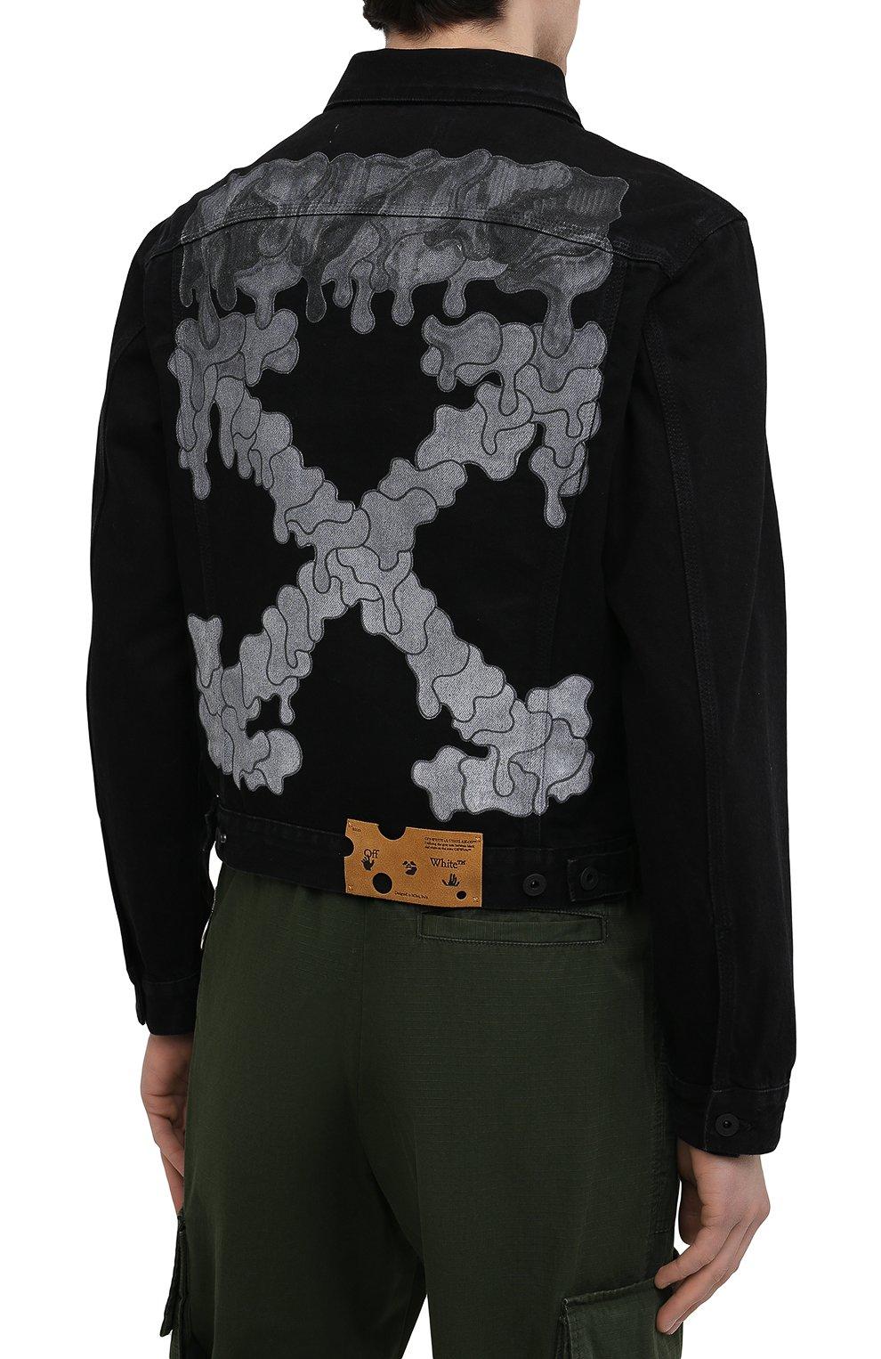 Мужская джинсовая куртка OFF-WHITE черного цвета, арт. 0MYE054S21DEN001   Фото 4 (Кросс-КТ: Куртка, Деним; Рукава: Длинные; Материал внешний: Хлопок; Стили: Спорт-шик; Длина (верхняя одежда): Короткие)