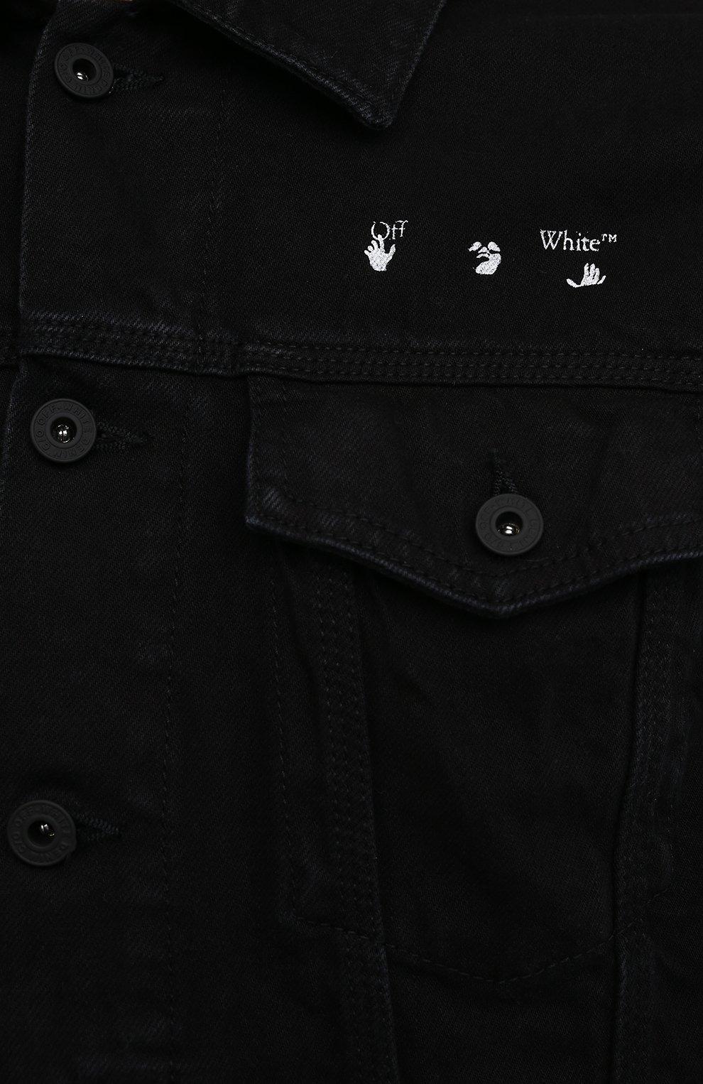 Мужская джинсовая куртка OFF-WHITE черного цвета, арт. 0MYE054S21DEN001   Фото 5 (Кросс-КТ: Куртка, Деним; Рукава: Длинные; Материал внешний: Хлопок; Стили: Спорт-шик; Длина (верхняя одежда): Короткие)