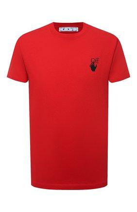 Мужская хлопковая футболка OFF-WHITE красного цвета, арт. 0MAA027S21JER005 | Фото 1
