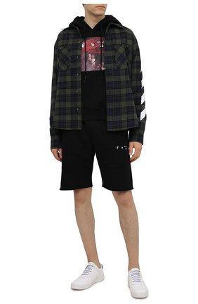Мужской хлопковое худи OFF-WHITE черного цвета, арт. 0MBB037S21FLE003 | Фото 2 (Стили: Спорт-шик, Гранж; Рукава: Длинные; Материал внешний: Хлопок; Принт: С принтом; Мужское Кросс-КТ: Худи-одежда; Длина (для топов): Стандартные)