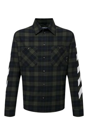 Мужская хлопковая рубашка OFF-WHITE хаки цвета, арт. 0MGA133S21FAB001 | Фото 1