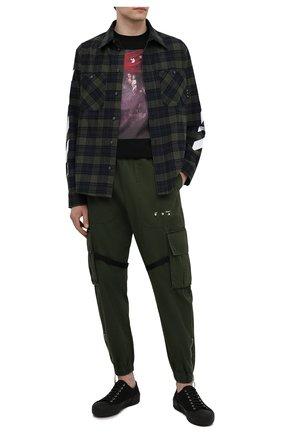 Мужская хлопковая рубашка OFF-WHITE хаки цвета, арт. 0MGA133S21FAB001 | Фото 2