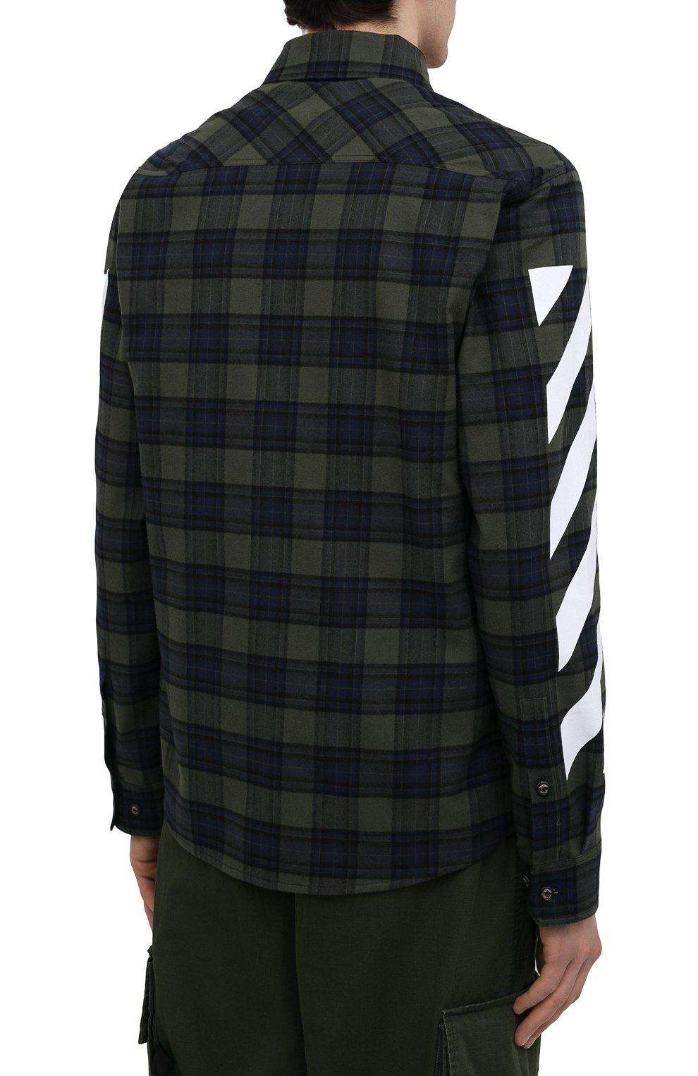 Мужская хлопковая рубашка OFF-WHITE хаки цвета, арт. 0MGA133S21FAB001   Фото 4 (Манжеты: На пуговицах; Принт: Клетка; Воротник: Кент; Рукава: Длинные; Случай: Повседневный; Длина (для топов): Стандартные; Стили: Гранж; Материал внешний: Хлопок)