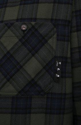 Мужская хлопковая рубашка OFF-WHITE хаки цвета, арт. 0MGA133S21FAB001   Фото 5 (Манжеты: На пуговицах; Принт: Клетка; Воротник: Кент; Рукава: Длинные; Случай: Повседневный; Длина (для топов): Стандартные; Стили: Гранж; Материал внешний: Хлопок)