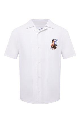 Мужская хлопковая рубашка OFF-WHITE белого цвета, арт. 0MGA163S21FAB008 | Фото 1