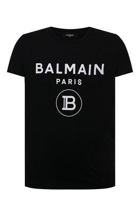 Мужская хлопковая футболка BALMAIN черного цвета, арт. VH0EF000/B029   Фото 1 (Стили: Гранж; Принт: С принтом; Рукава: Короткие; Длина (для топов): Стандартные; Материал внешний: Хлопок)